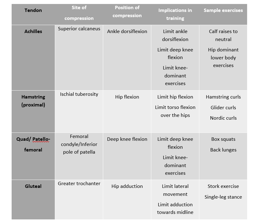 Table - Exercise modifications for tendinopathy